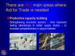 there are four main areas where aid for trade is needed9