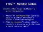 folder 1 narrative section
