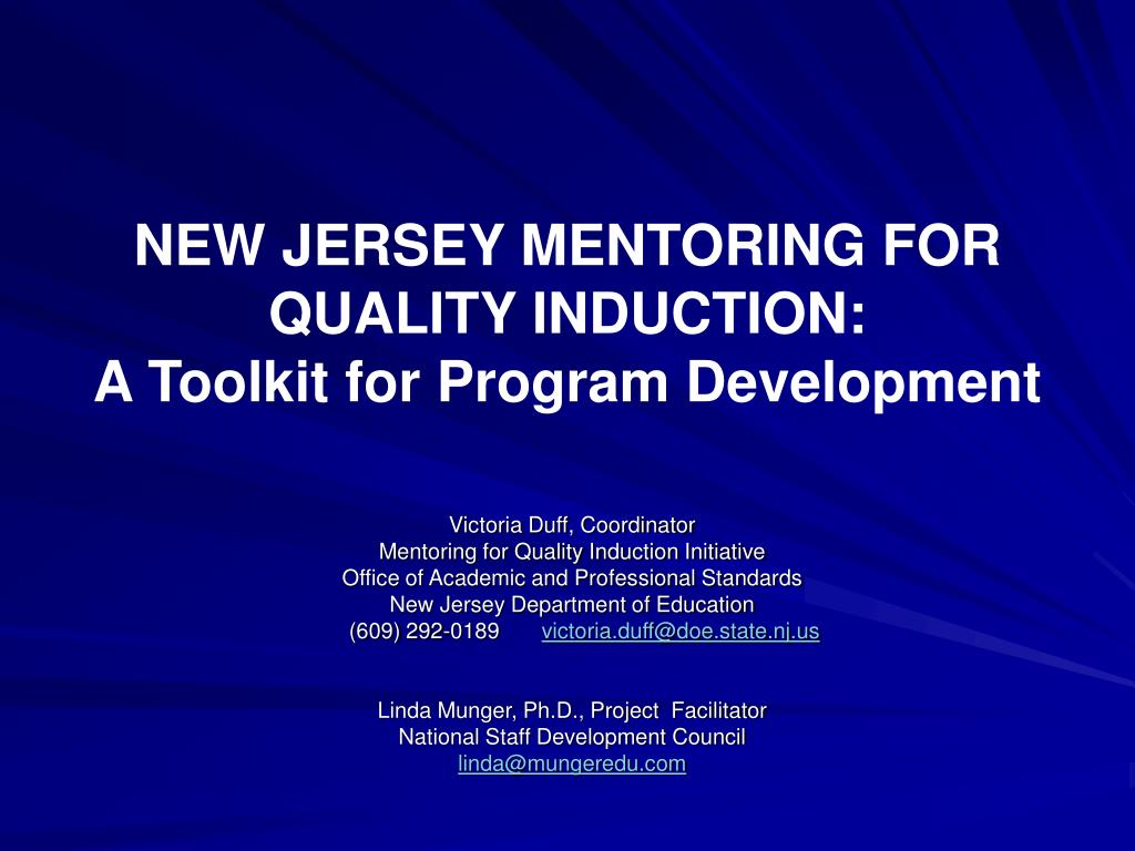 new jersey mentoring for quality induction a toolkit for program development