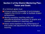 section 3 of the district mentoring plan vision and goals