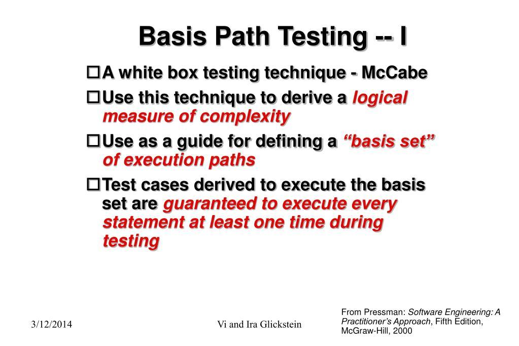 Basis Path Testing -- I