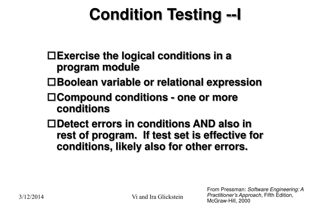 Condition Testing --I