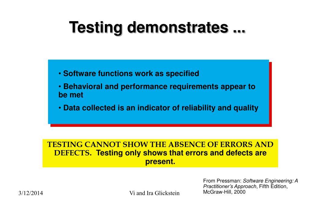 Testing demonstrates ...