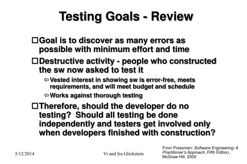 Testing Goals - Review