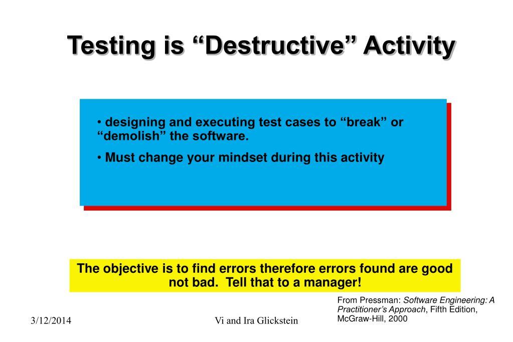 "Testing is ""Destructive"" Activity"