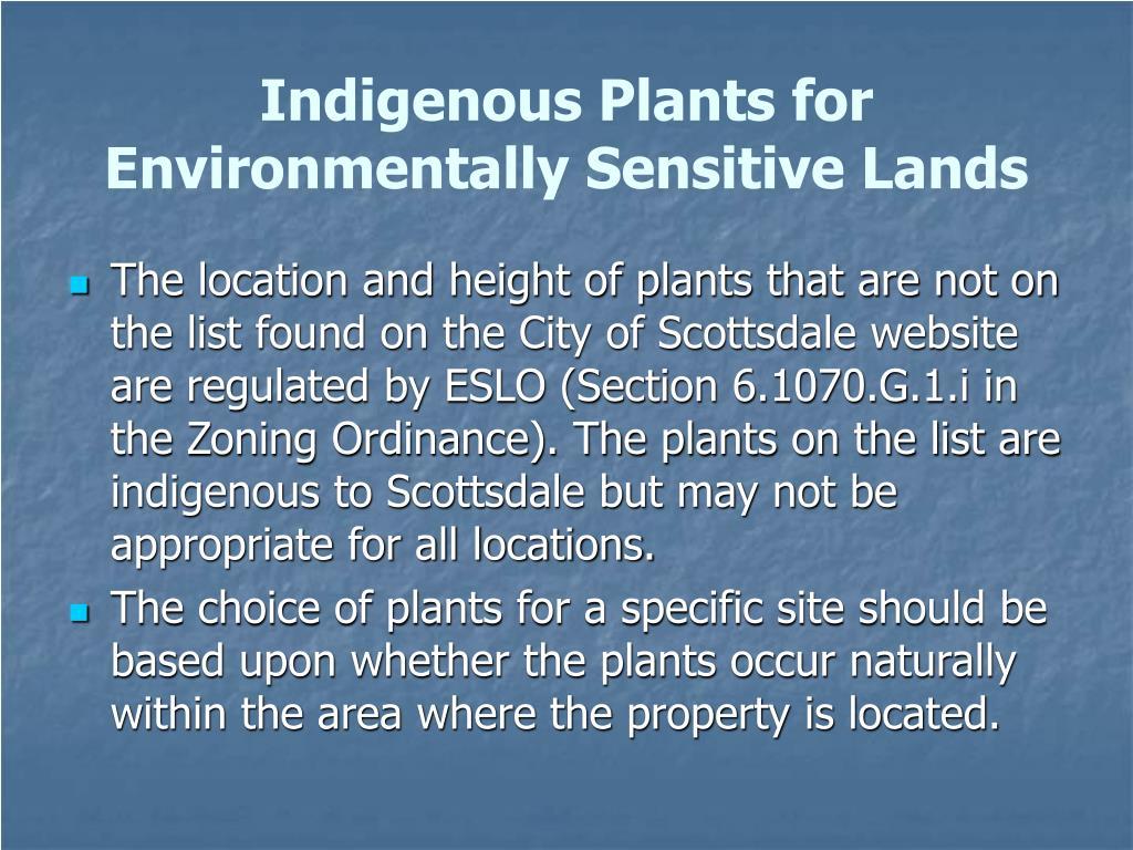 Indigenous Plants for Environmentally Sensitive Lands