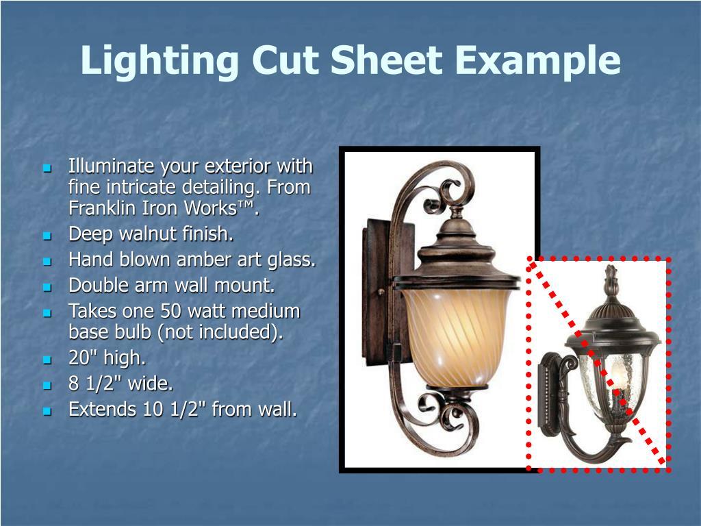 Lighting Cut Sheet Example