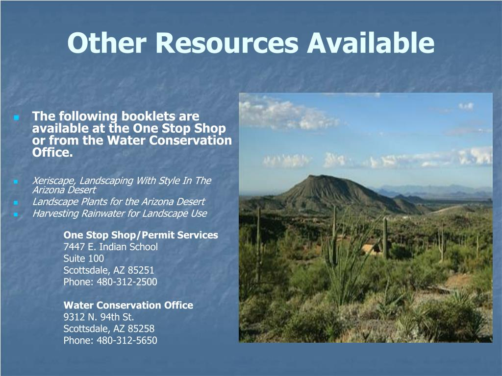 The following booklets are available at the One Stop Shop or from the Water Conservation Office.
