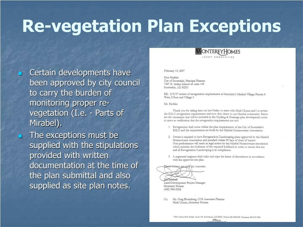 Re-vegetation Plan Exceptions