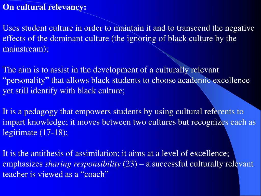 On cultural relevancy: