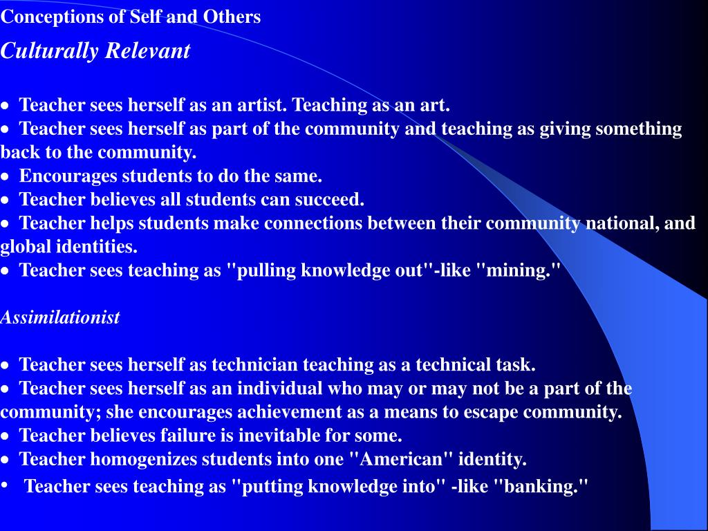 Conceptions of Self and Others