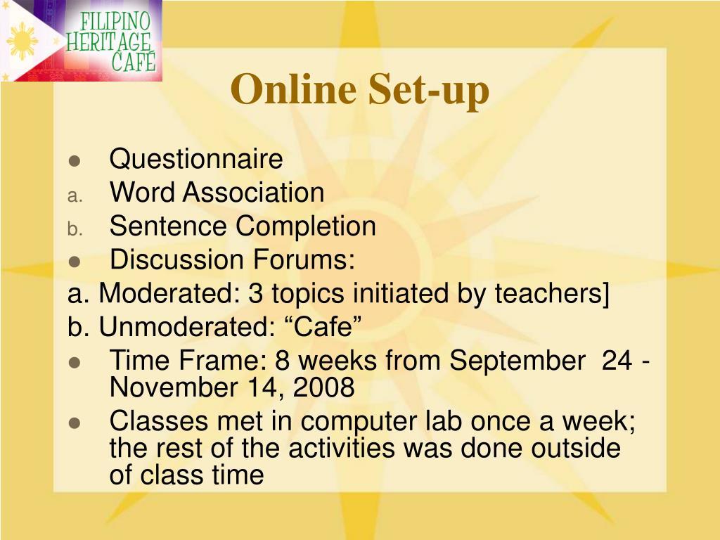 Online Set-up