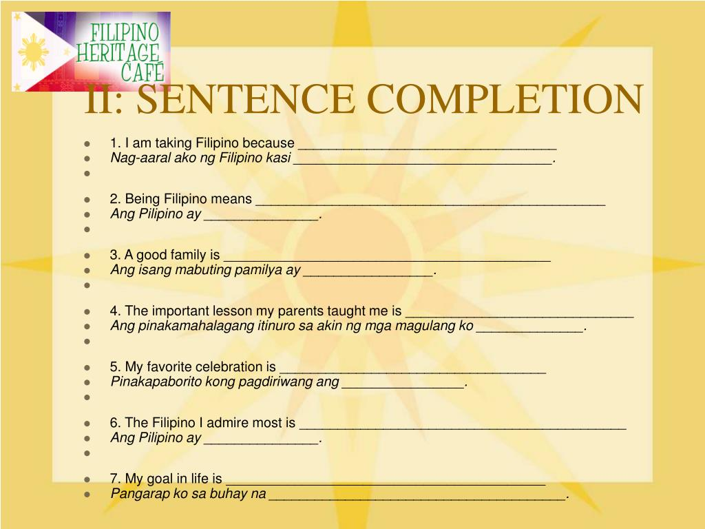 II: SENTENCE COMPLETION