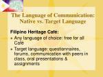 the language of communication native vs target language15