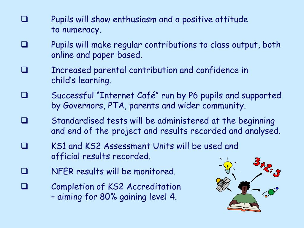 Pupils will show enthusiasm and a positive attitude     	      	to numeracy.
