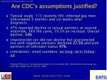 are cdc s assumptions justified11