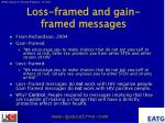 loss framed and gain framed messages