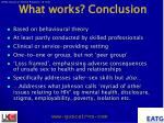 what works conclusion