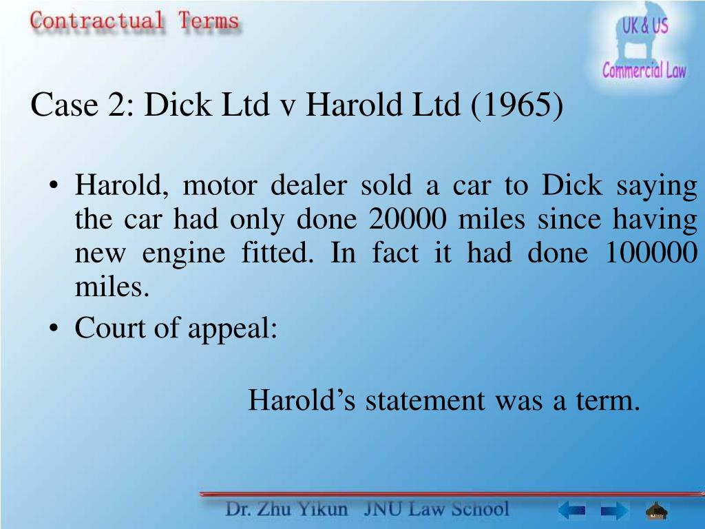 Case 2: Dick Ltd v Harold Ltd (1965)