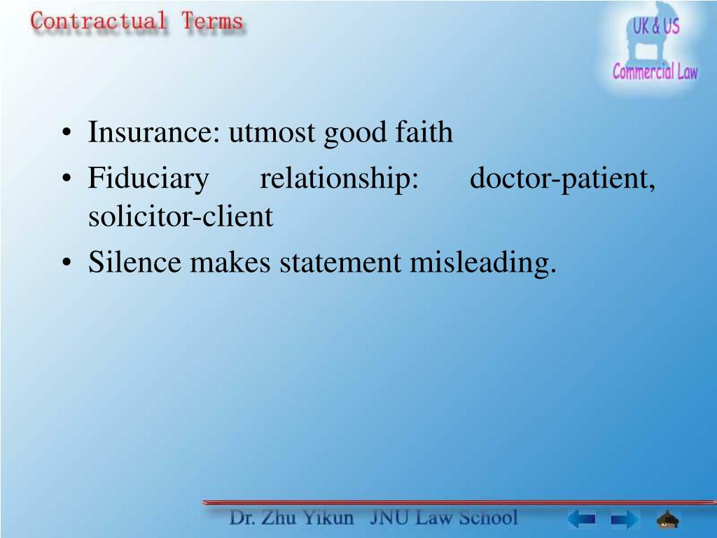 Insurance: utmost good faith