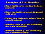 examples of cost domains