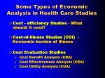 some types of economic analysis in health care studies