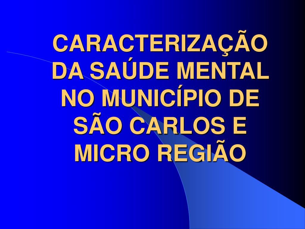 CARACTERIZAÇÃO DA SAÚDE MENTAL NO MUNICÍPIO DE SÃO CARLOS E MICRO REGIÃO