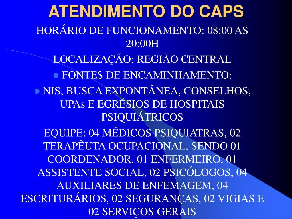 ATENDIMENTO DO CAPS