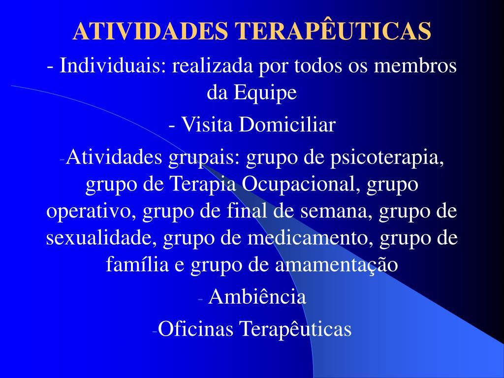 ATIVIDADES TERAPÊUTICAS