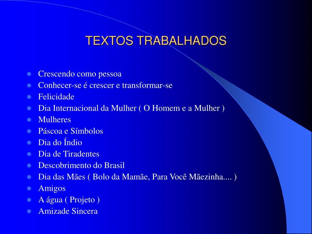 TEXTOS TRABALHADOS