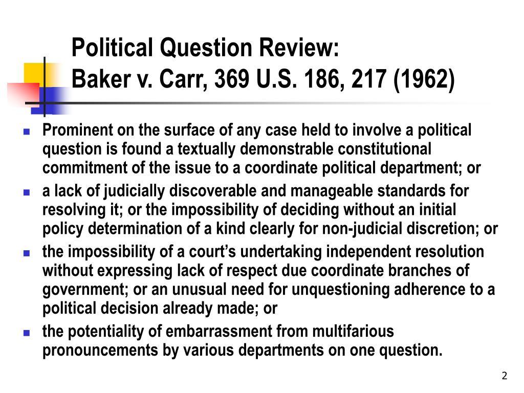 Political Question Review: