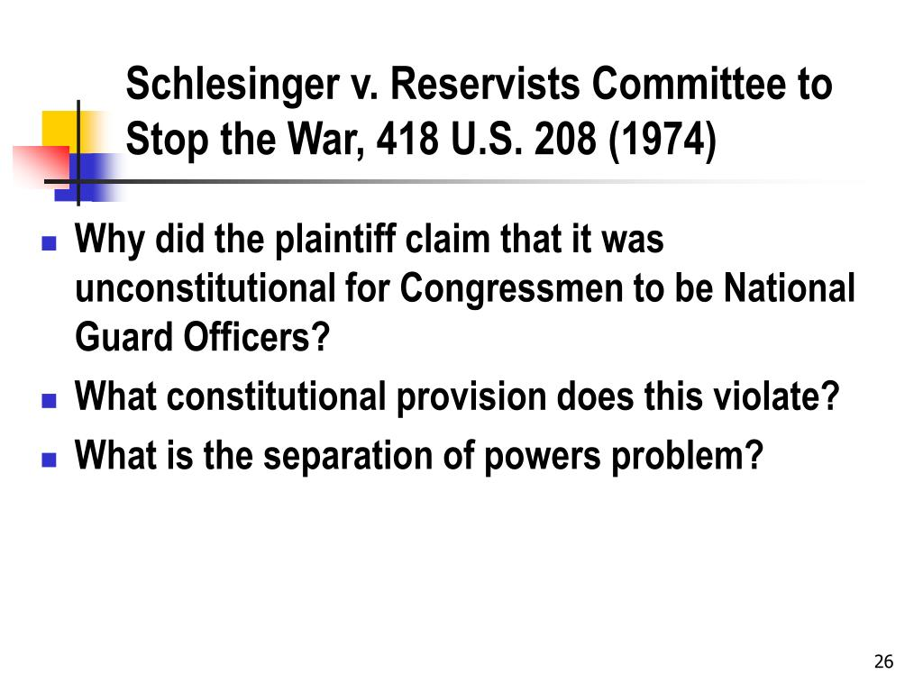 Schlesinger v. Reservists Committee to Stop the War, 418 U.S. 208 (1974)