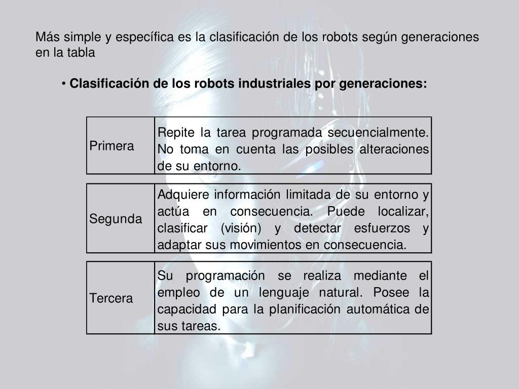 Más simple y específica es la clasificación de los robots según generaciones en la tabla