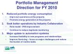 portfolio management direction for fy 2010