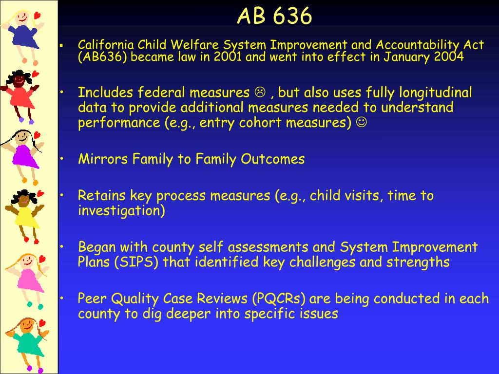 California Child Welfare System Improvement and Accountability Act (AB636) became law in 2001 and went into effect in January 2004