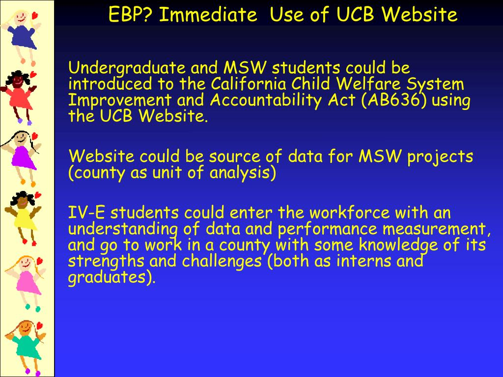 Undergraduate and MSW students could be introduced to the California Child Welfare System Improvement and Accountability Act (AB636) using the UCB Website.