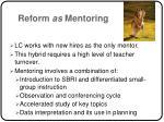 reform as mentoring