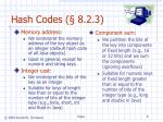 hash codes 8 2 3
