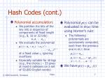 hash codes cont