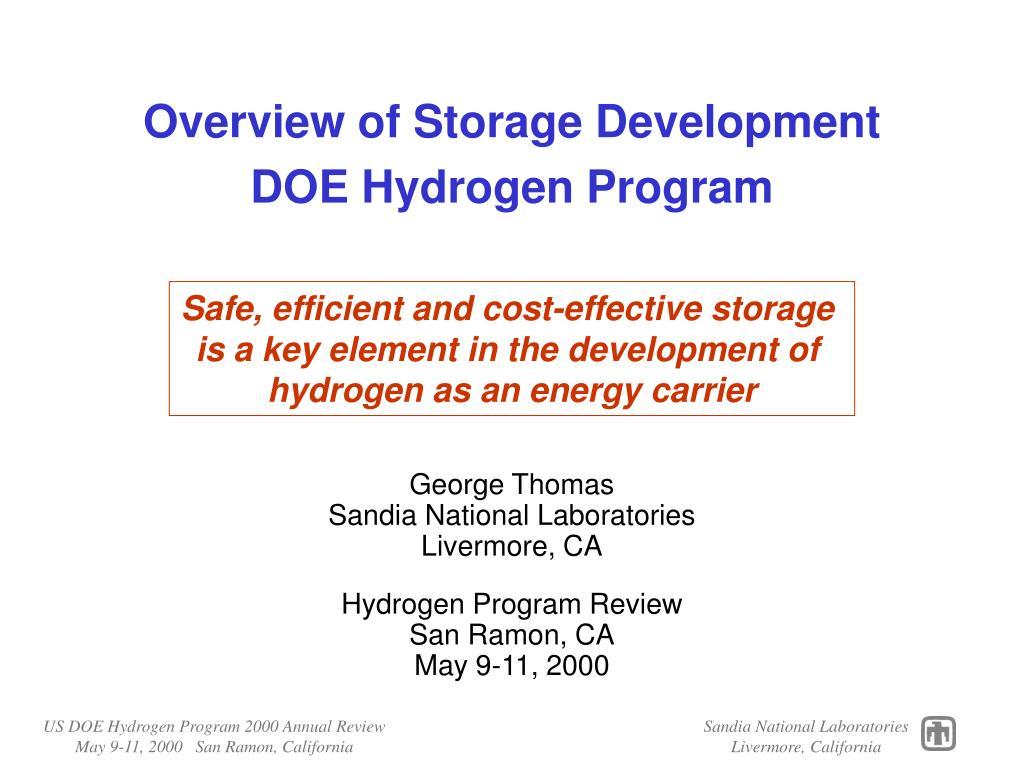 overview of storage development doe hydrogen program