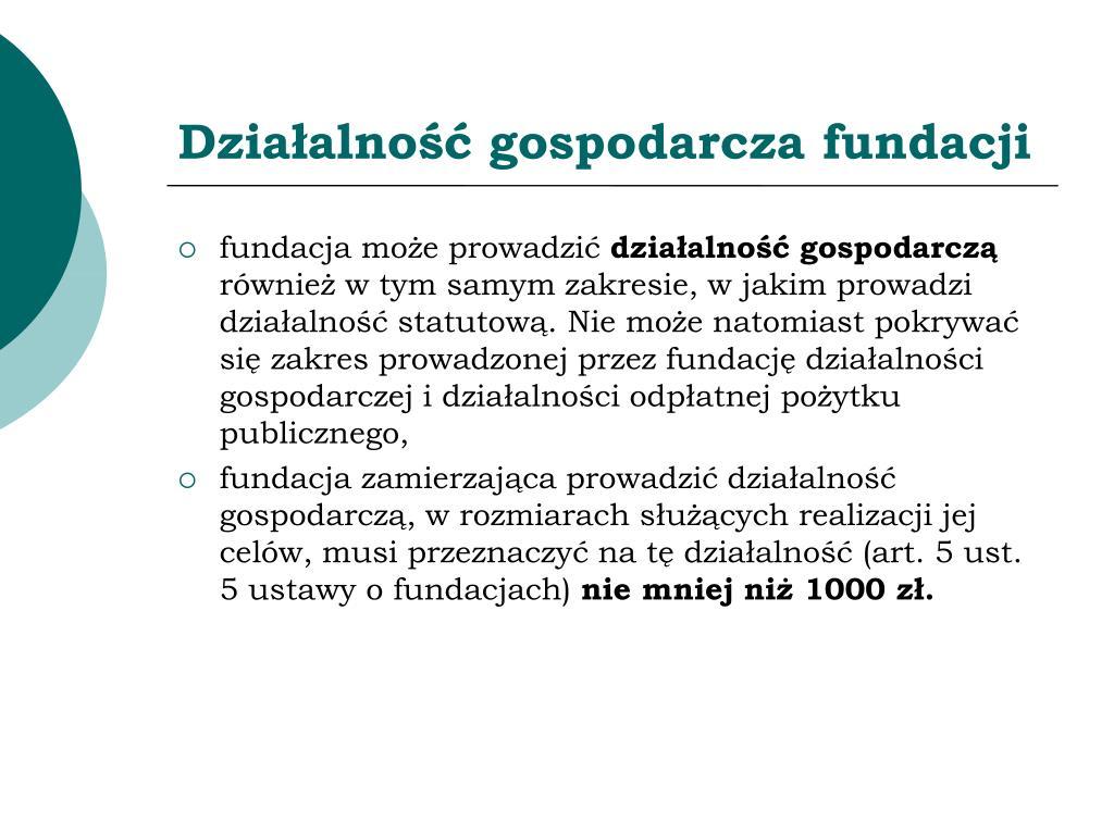 Działalność gospodarcza fundacji