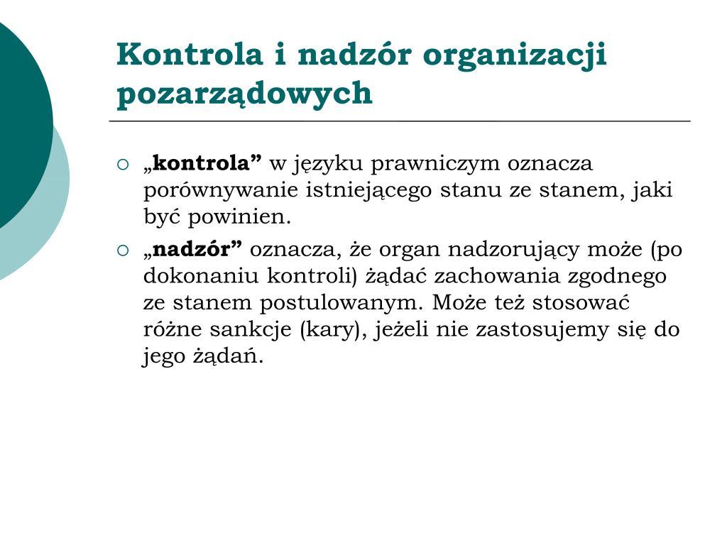 Kontrola i nadzór organizacji pozarządowych