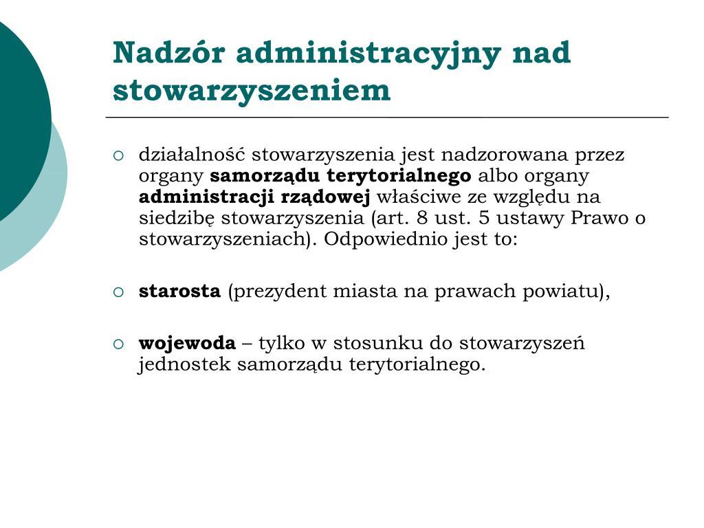 Nadzór administracyjny nad stowarzyszeniem