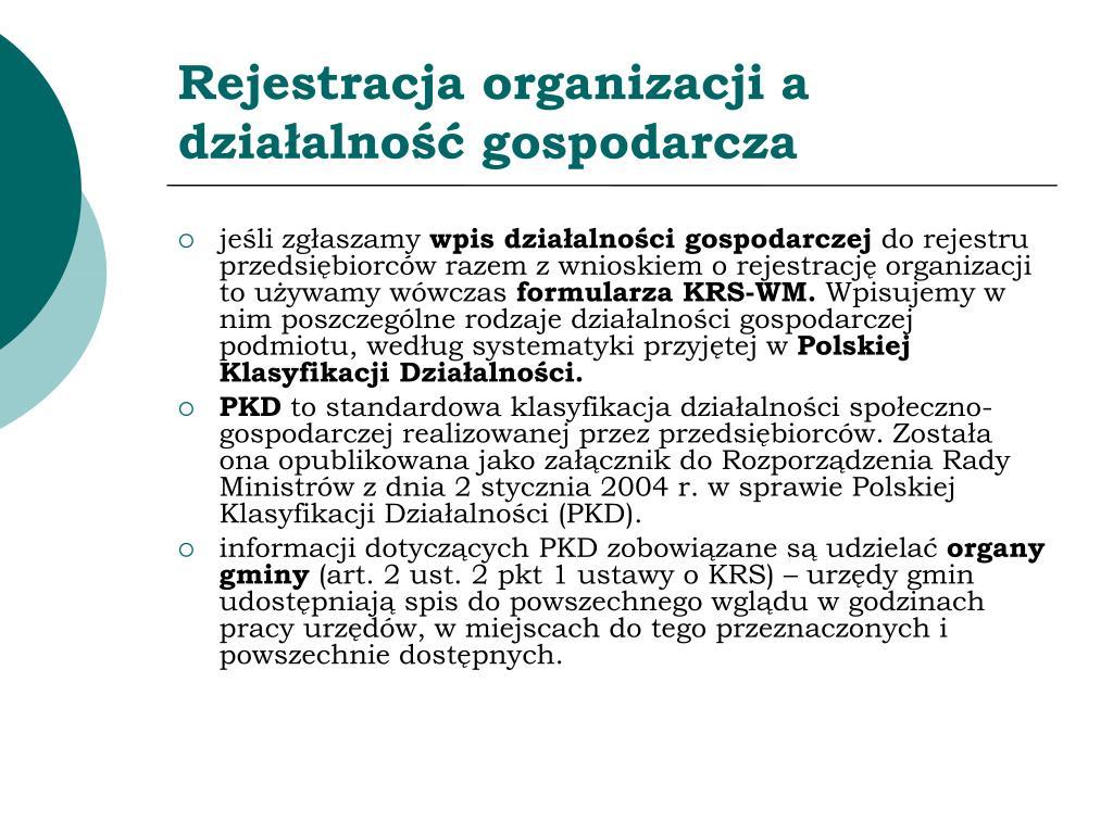 Rejestracja organizacji a działalność gospodarcza