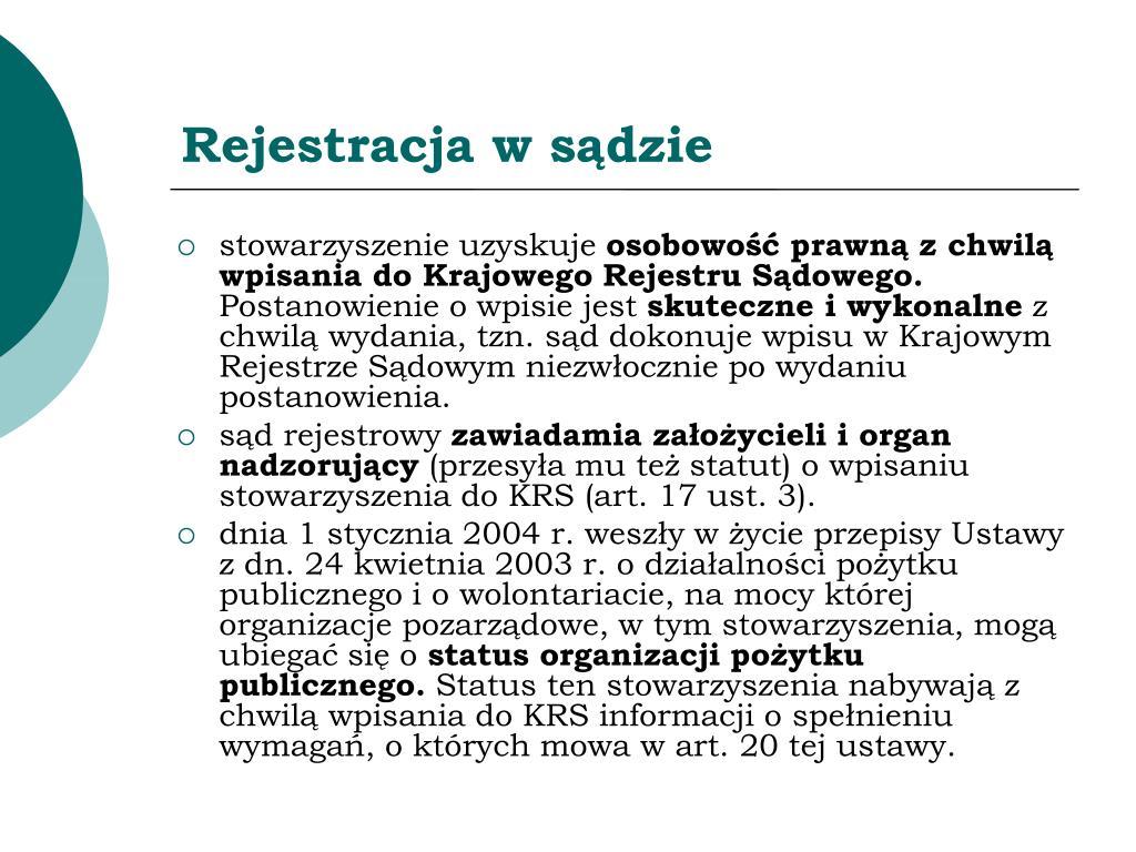 Rejestracja w sądzie