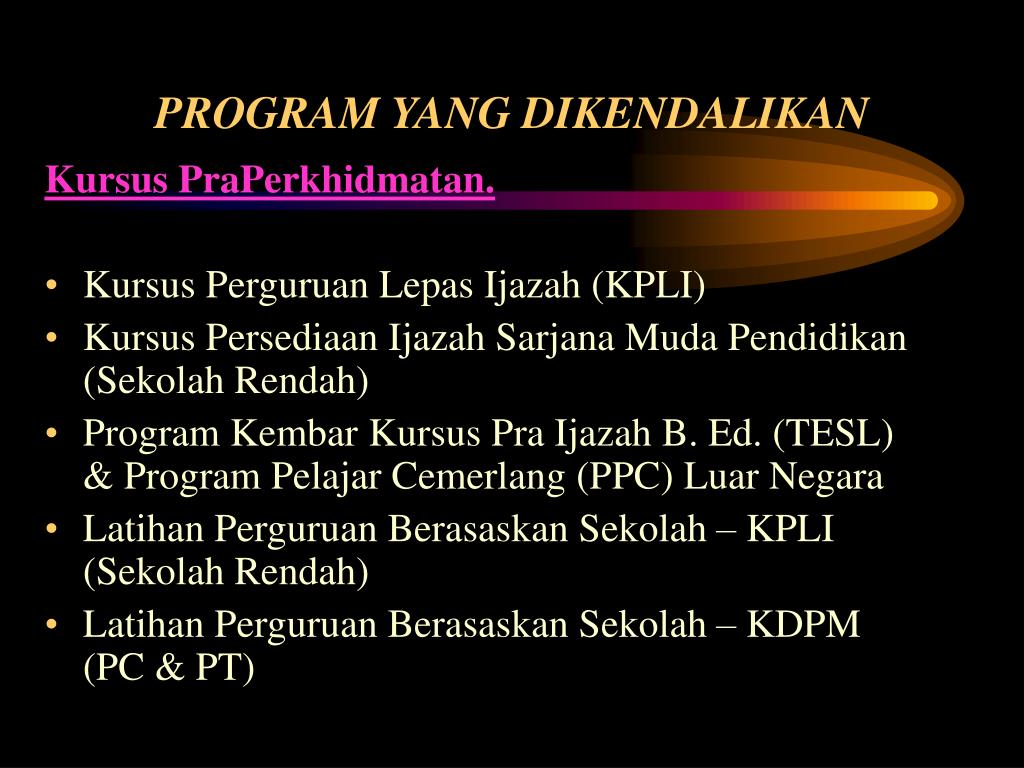 PROGRAM YANG DIKENDALIKAN