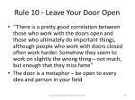 rule 10 leave your door open