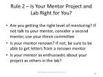 rule 2 is your mentor project and lab right for you