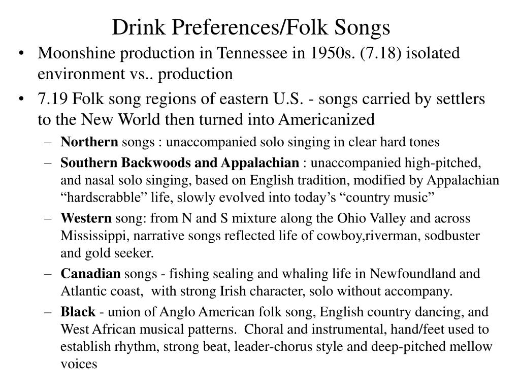Drink Preferences/Folk Songs