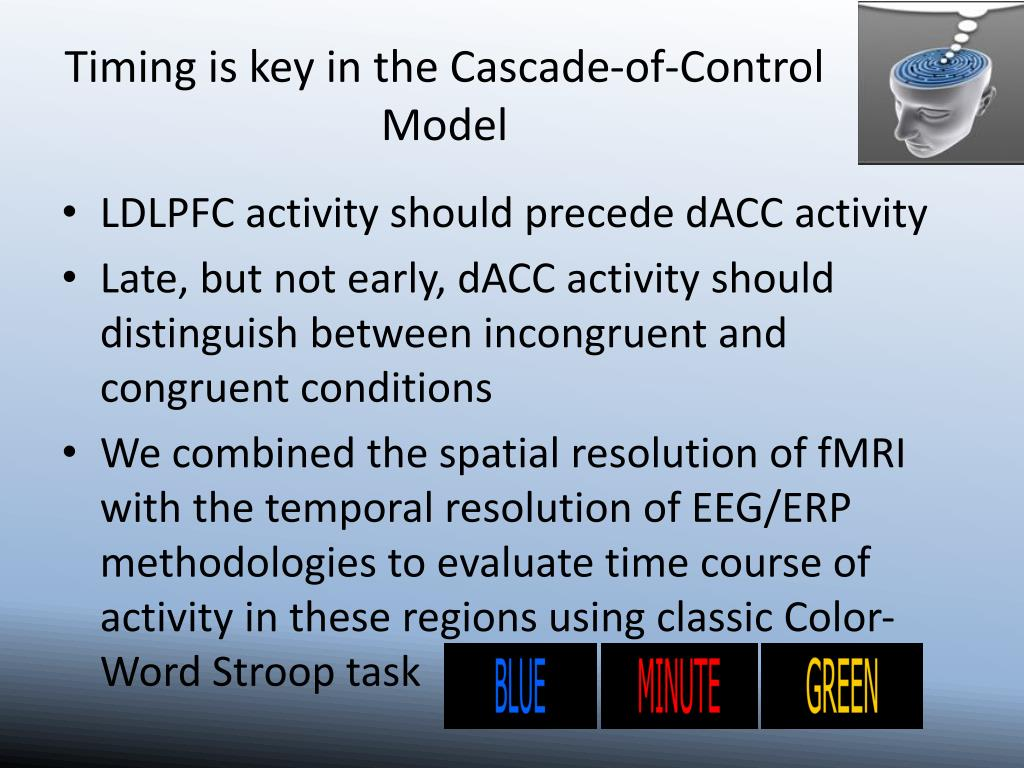 Timing is key in the Cascade-of-Control Model
